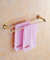 European Pink Crystal Double Towel Bar Brass Solid Double